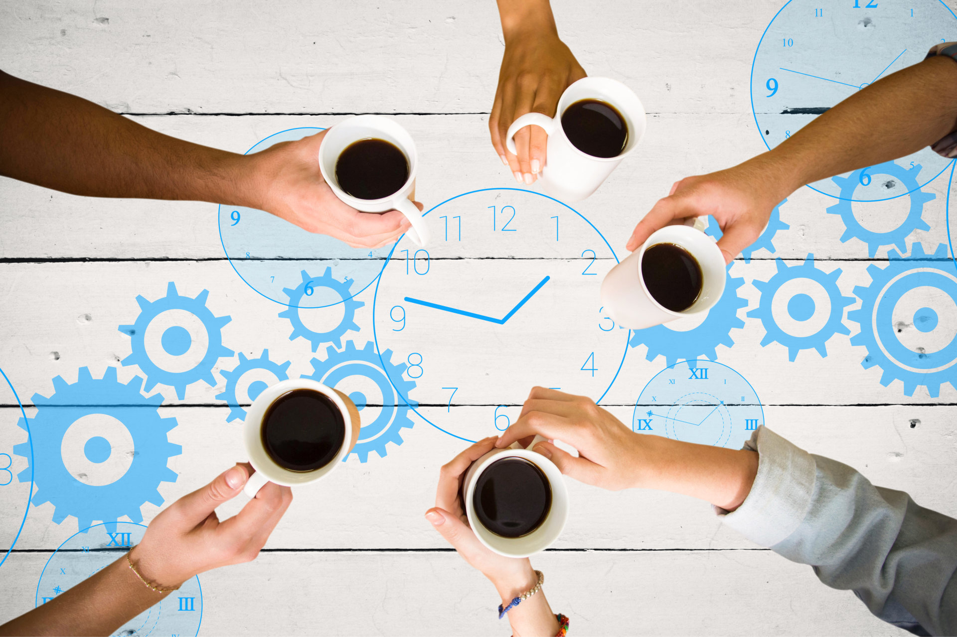 Hands reaching for coffee over clock graphic in blue